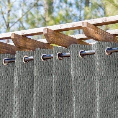 Siena Stone Semi-Sheer Extra Wide Outdoor Curtain