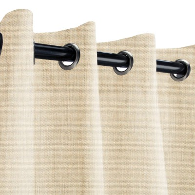 Sunbrella Canvas Flax Outdoor Curtain with Nickel Grommets 50 in. x 96 in.