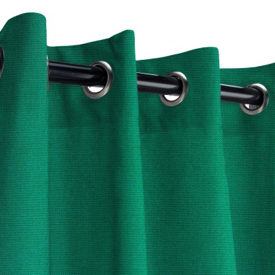 Sunbrella Canvas Forest Green Outdoor Curtain with Nickel Grommets 50 in. x 84 in.