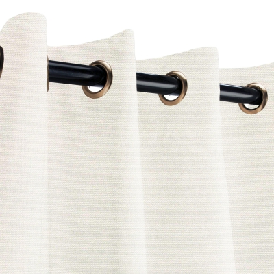 Sunbrella Canvas Natural Outdoor Curtain with Old Copper Grommets 50 in. x 108 in.