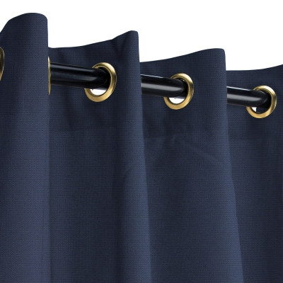 Sunbrella Canvas Navy Outdoor Curtain with Plated Brass Grommets 50 in. x 108 in.