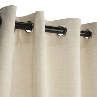 Sunbrella Dupione Pearl Outdoor Curtain with Satin Nickel Plated Grommets 50 in. x 84 in.