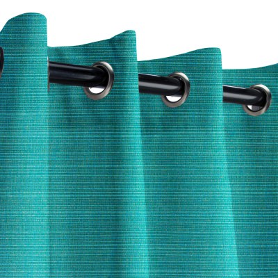 Sunbrella Dupione Deep Sea Outdoor Curtain with Nickel Grommets 50 in. x 84 in.