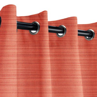 Sunbrella Dupione Papaya Outdoor Curtain with Nickel Grommets 50 in. x 108 in.