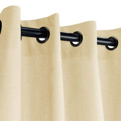 Sunbrella Canvas Antique Beige Outdoor Curtain with Dark Gunmetal Plated Grommets 50 in. x 96 in.
