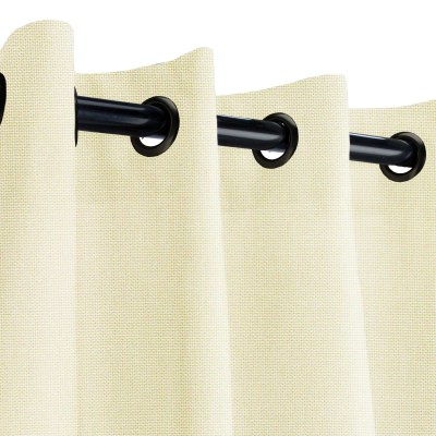 Sunbrella Canvas Birds Eye Outdoor Curtain with Black Grommets 50 in. x 84 in.