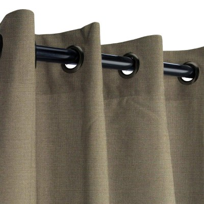 Sunbrella Canvas Taupe Outdoor Curtain with Dark Gunmetal Grommets 50 in. x 84 in.