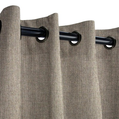 Sunbrella Cast Shale Outdoor Curtain with Dark Gunmetal Plated Grommets 50 in. x 96 in.