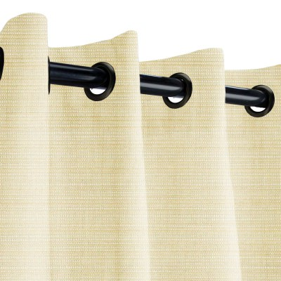 Sunbrella Dupione Pearl Outdoor Curtain with Dark Gunmetal Plated Grommets 50 in. x 120 in.