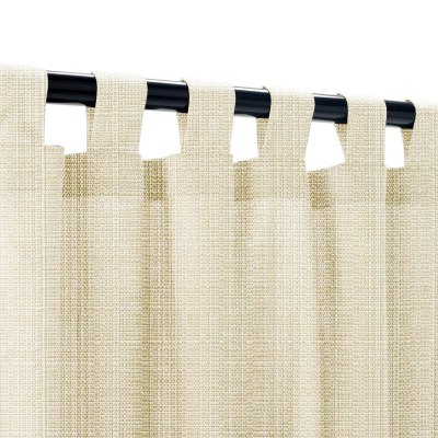 Sunbrella Linen Antique Beige Outdoor Curtains with Tabs 50 in. x 96 in.