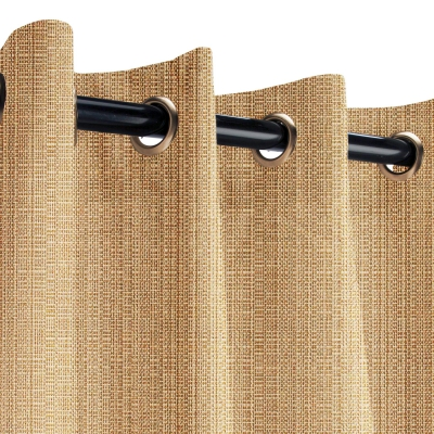 Sunbrella Linen Straw Outdoor Curtain with Old Copper Grommets 50 in. x 84 in.