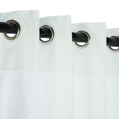 Sunbrella Canvas White Outdoor Curtain with Satin Nickel Plated Grommets 50 in. x 108 in.