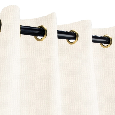 Sunbrella Sheer Snow Outdoor Curtain with Plated Brass Grommets 50 in. x 84 in.