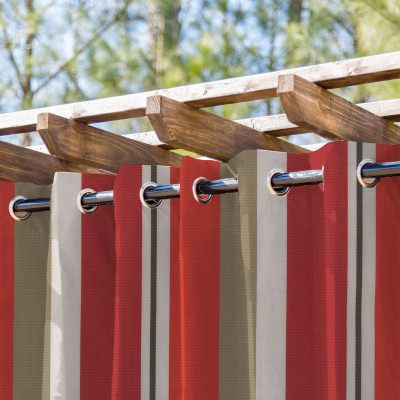 Rosso Stripe Extrawide Outdoor Curtain