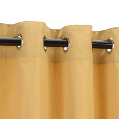 Sunbrella Canvas Wheat Outdoor Curtain with Nickel Plated Grommets 50 in. x 120 in.